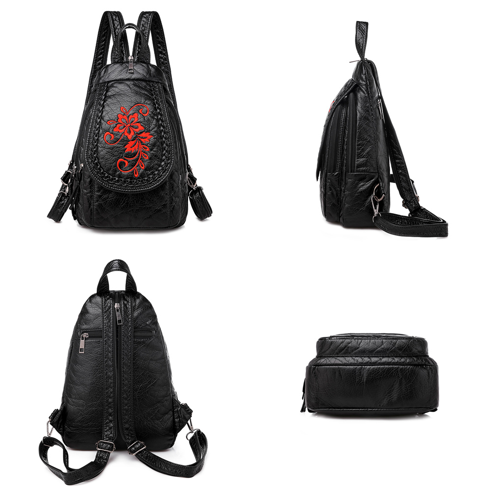 Image 5 - New Winter 3 in 1 Women Backpack Ladies Casual Embroidery Flowers Chest Bag Washed Soft Leather Women Shouldr Bag Mochila MujerBackpacks   -