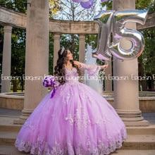 2021 princesa lavanda quinceanera vestidos v pescoço rendas até vestido de baile doce 16 vestido de renda mangas compridas vestidos de 15 anos