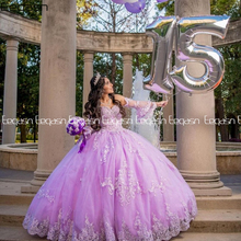 Quinceanera-Dresses Ball-Gown 16-Dress Lavender Lace Sweet Princess Long-Sleeves V-Neck