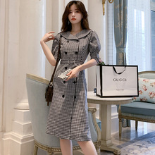 Large Size Women Half Sleeve Double Button Midi Dress with Sashes A-line Bodycon Houndstooth OL Work Office