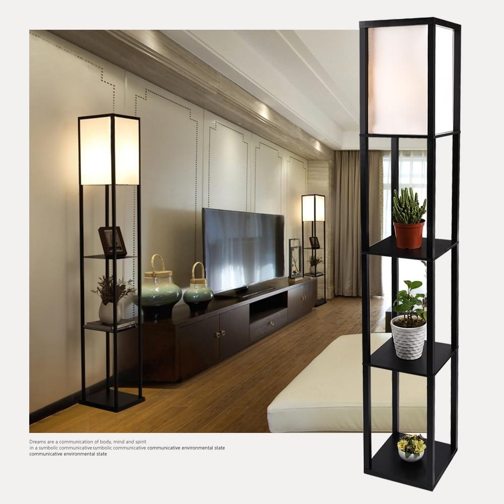 Wood Shelf Floor Light Fabric Shade Lamp Storage Living Room Home Office Black Organizer Decor