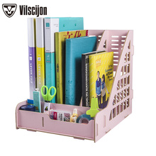 DIY Desk Accessories Organizer Multi-function Magazine File Tray Bookends Holder Office Vilscijon D9112