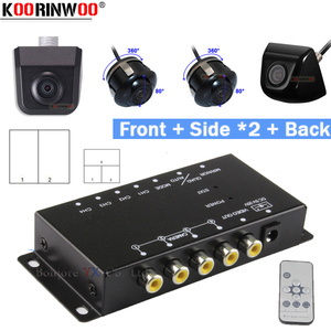 Koorinwoo 360 Round Remote control Split Parking For 4 Cameras Switch Combiner Channel Box CCD Left Right Front Rear view Camera