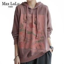 Max LuLu Autumn Korean New Luxury Brand Womens Vintage Sweatshirts Ladies Knitted Hooded Hoodies Female Casual Printed Clothes