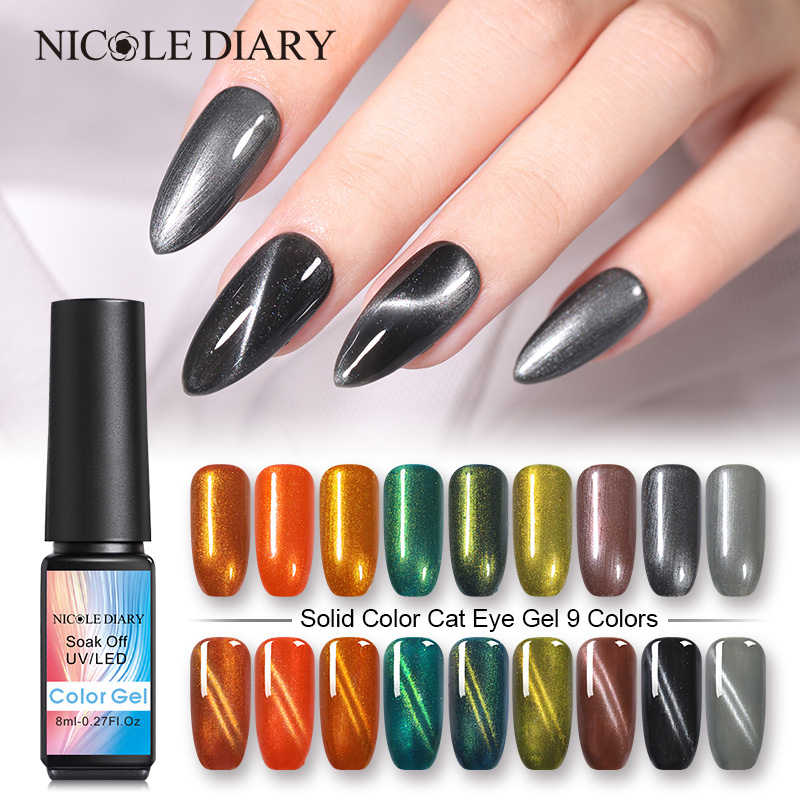 Nicole Dagboek 8 Ml Cat Eye Gel Magnetische Uv Gel Nagellak Vernis Magneet Uv Led Lamp Gel Varnish Art diy