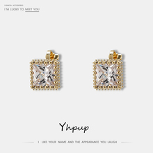 Yhpup Trendy Korean Luxury Rhinestone Square Ear Clip Copper Metal Statement Charm Pendientes Mujer Tiny Accessories for Women