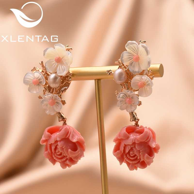 XlentAg 925 Sterling Silver Pink Coral Drop Earrings White Pearl Pink Natural Stone Shell Flower Dangle Earrings Jewelry GE0024