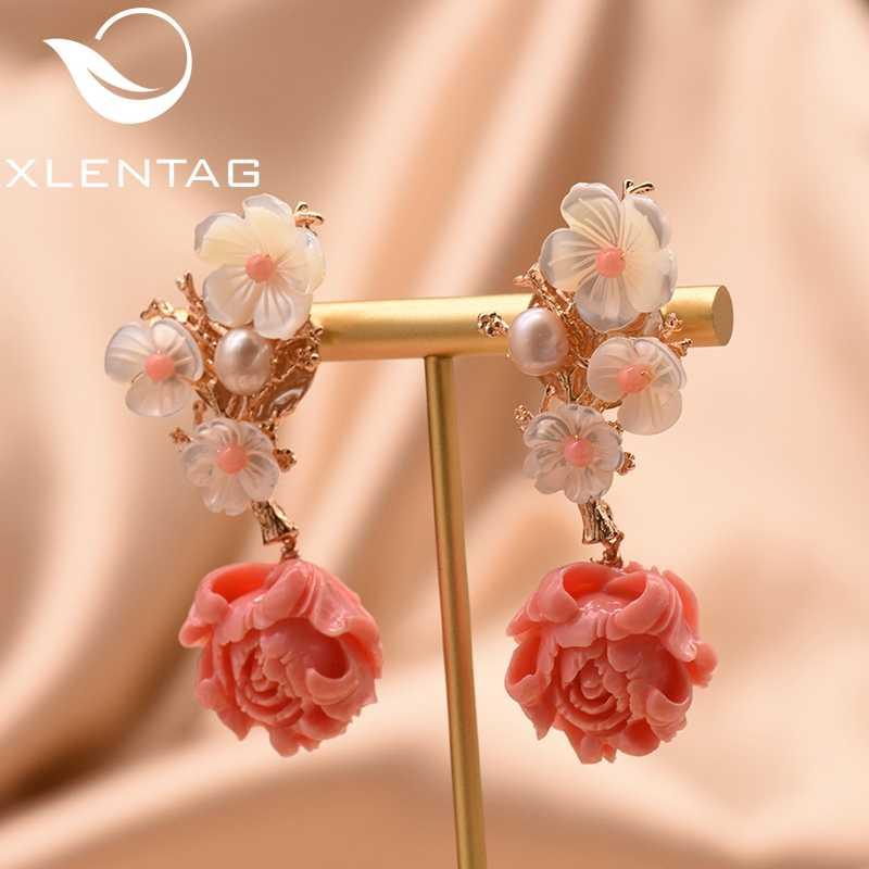 XlentAg 925 スターリングシルバーピンク珊瑚ドロップイヤリングホワイトパールピンク天然石シェルフラワーブラブライヤリングジュエリー GE0024