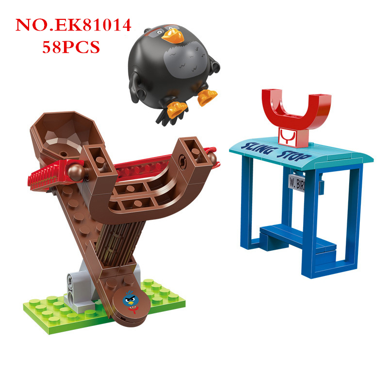 New Movie Game Angry 2 Pig Playground Slingshot Launch Station Cute Birds Model Small Building Blocks Sets Bricks Kids Toys Gift