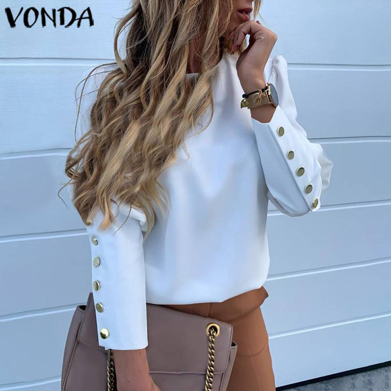 Blouses Women Autumn 2019 VONDA Woman Tops And Blouses Long Sleeve Button Solid Tunic Tops Casual Loose Ladies Office Shirts 5XL