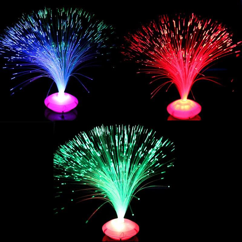 1 pièces belle romantique LED à couleur changeante Fiber optique veilleuse lampe petite veilleuse fête de noël décoration de la maison