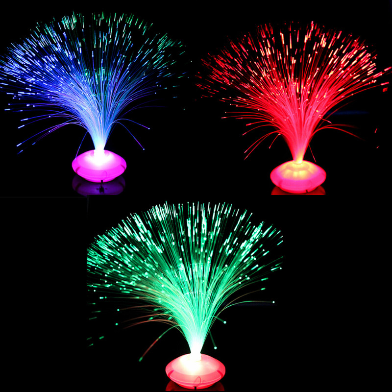 1PCS Beautiful Romantic Color Changing LED Fiber Optic Nightlight Lamp Small Night Light Chrismas Party Home Decoration