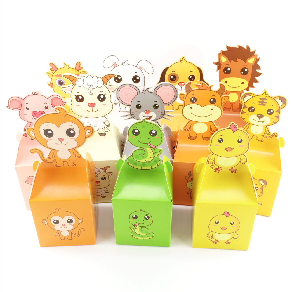 24pc Cartoon Cute Baby Shower Candy Box Paper Gift Bag Sweet Candy Packaging Bags Woodland Animals Birthday Party Decor For Kids