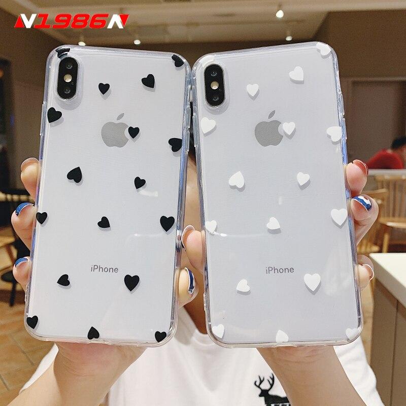 N1986N Phone Case For iPhone 11 Pro X XR XS Max 6 6s 7 8 Plus Cute Cartoon Love Heart Clear Soft TPU For iPhone X Couple Case