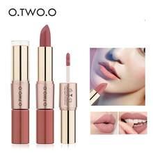 O. tw o.o 12 cores maquiagem batom brilho labial sexy vermelho lábio vara à prova dwaterproof água umidade lábios cosméticos fosco batons