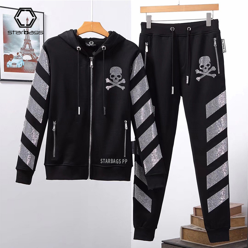 Starbags PP 2020 Autumn Hoodie Suit Men's Skull Hot Color Diamond Cardigan Hoodie Long Pants Men's Suit 2 Pieces High Quality