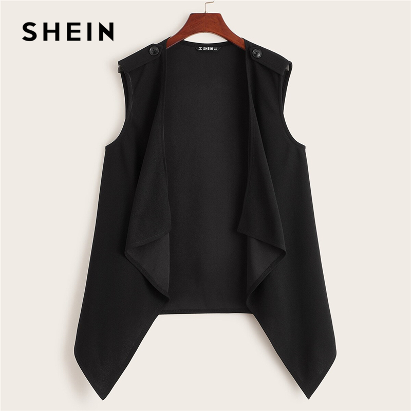 SHEIN Plus Size Black Solid Waterfall Vest Coat Women Autumn Sleeveless Buttoned Shoulder Chic Casual Plus Outwear Coats 1