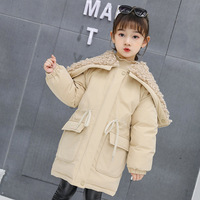 Autumn/winter fashion girls cotton padded jacket coat coat hooded cotton padded clothes pure color belt draw string
