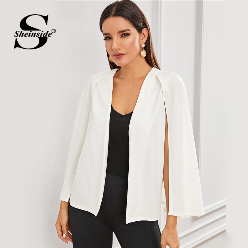 Sheinside Elegant White Cloak Sleeve Blazer Women 2019 Autumn Front Open Solid Blazers Ladies Minimalist Workwear Blazer