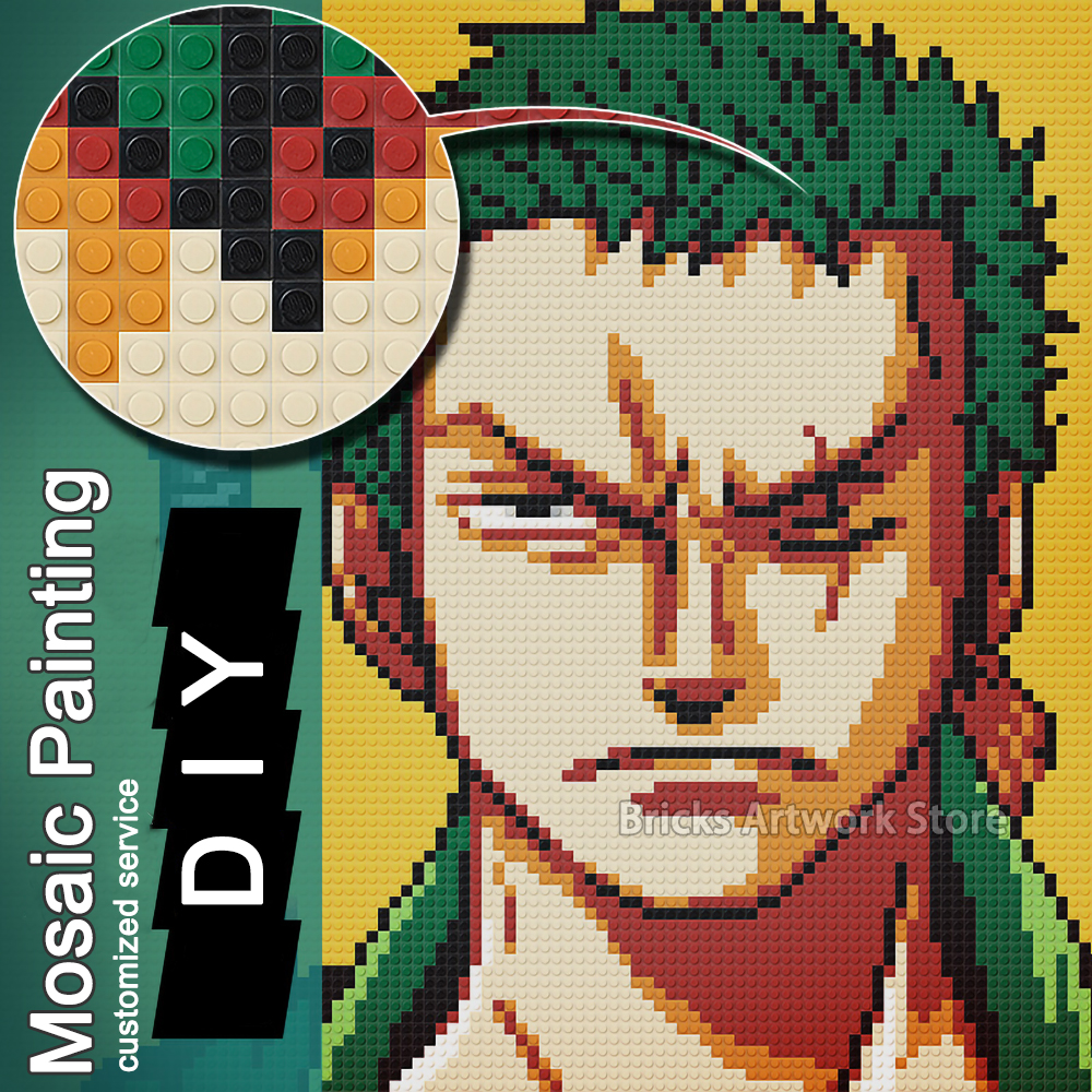 Image 2 - 50x50 Pixel Art MOC Set Mosaic Painting Private Customized Design for You Build Yourself Building Blocks 40x40CM Creative Gift-in Blocks from Toys & Hobbies