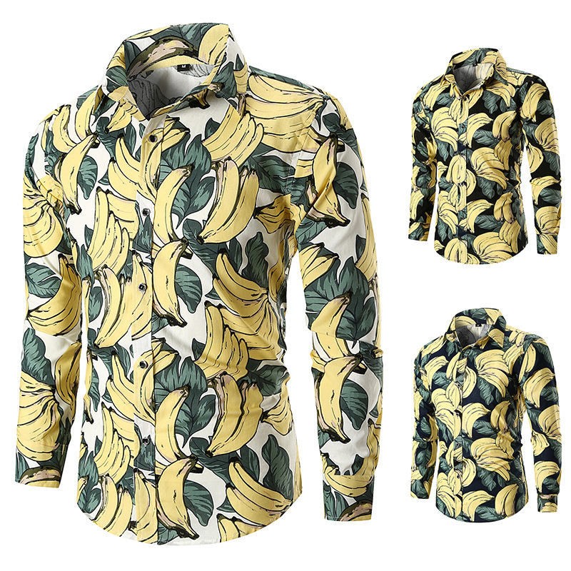 Ouma New Style Autumn And Winter Fashion Popular Long Sleeve Banana Stamp Africa-Style Men Fruit Shirt