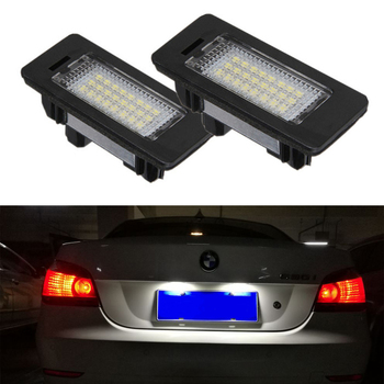 MASHA 2Pcs 12V LED Car License Plate Light For BMW 1 E82 3 E90 E91 E92 5 E60 E61 E39 X1 E84 X5 E70 X6 E71 Rear Tail Number Lamp image