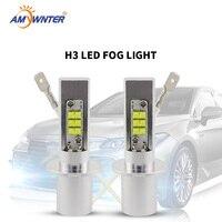 2 pces luzes de nevoeiro do carro alta potência h3 lâmpada led 2525 smd auto fonte de luz lâmpadas carro luz 12v 6000k branco amarelo âmbar