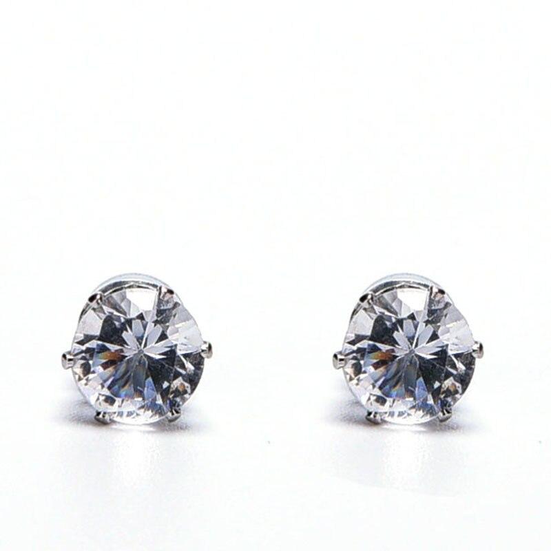 1 Pair No Piercing Round Zircon Magnetic Stud Earings For Women Men Kids No Hole Crystal Ear Studs Jewelry Magnet Earring