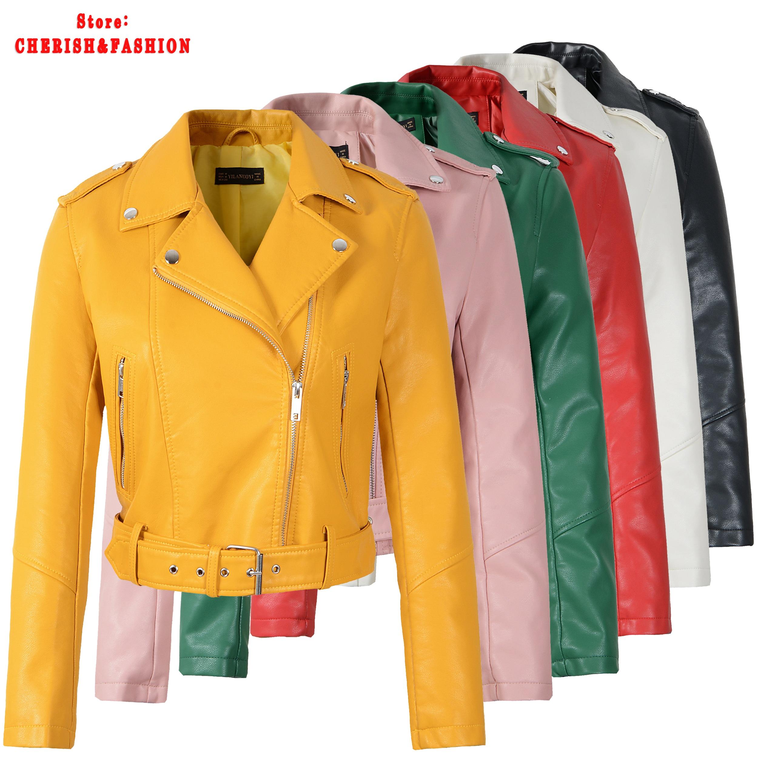 חדש הגעה מותג חורף סתיו ירוק אופנוע מעילי עור צהוב עור מעיל נשים מעיל עור slim PU מעיל עור