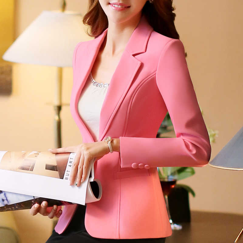Single Button Office Lady Plus Size 4xl OL Traditional Classical Long Sleeve Female Women Blazer Autunm Jacket White Pink Black
