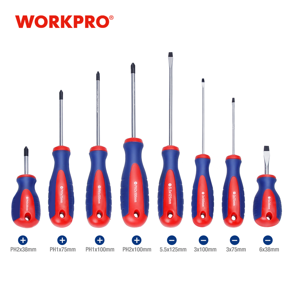 WORKPRO Magnetic Screwdriver Home Repair Screwdriver Slotted/Phillips CRV Screwdriver With Hole