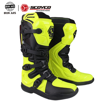 цена на SCOYCO Motorcycle Motocross ATV Boots Off-road Racing Men Shoes Moto Motorbike Long knee High top safety CE MBM003