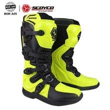 SCOYCO motosiklet Motocross ATV botları Off road yarış erkek ayakkabısı Moto motosiklet uzun diz yüksek üst güvenlik CE MBM003