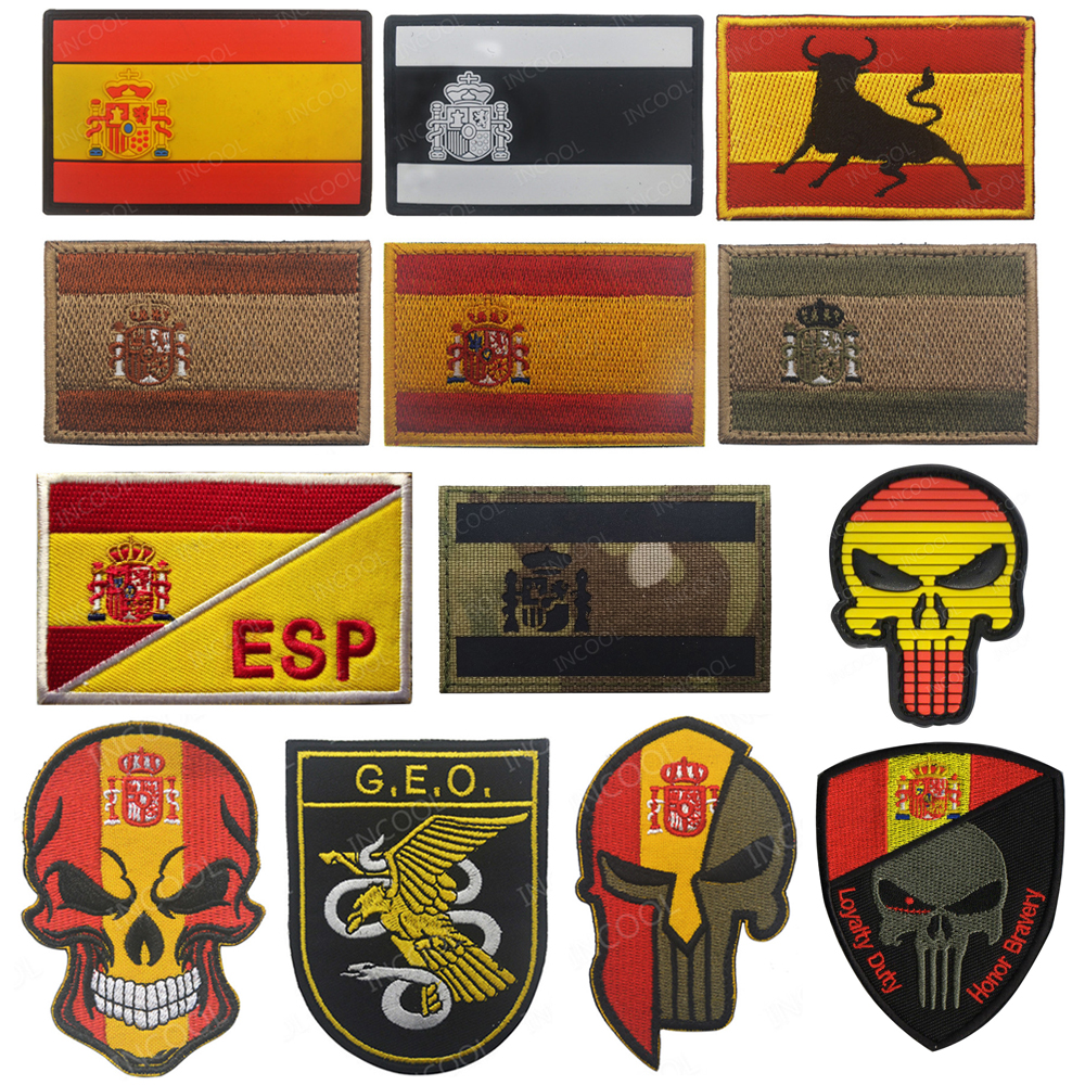 Embroidery Patch Spain Flag Army Military Tactical Morale Patches Emblem Appliques Spanish Flags Rubber PVC Embroidered Badges(China)