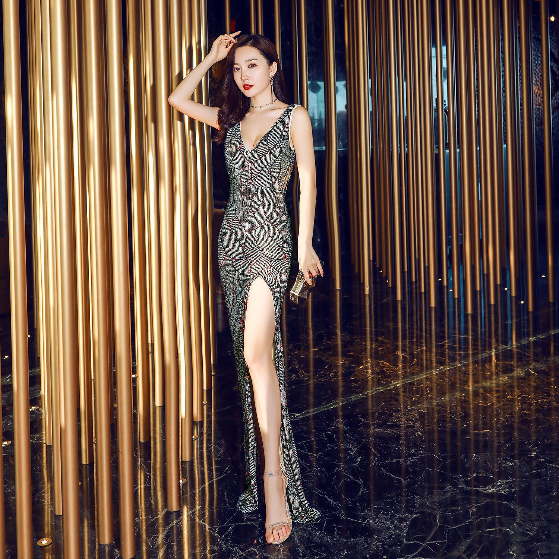 Evening Dress Split V-neck Women Party Dresses 2019 Backless Sequins Robe De Soiree Sleeveless Crystal Formal Evening Gowns C308