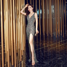 Evening Dress Split V-neck Women Party Dresses 2019 Backless Sequins Robe De Soiree Sleeveless Crystal Formal Gowns C308