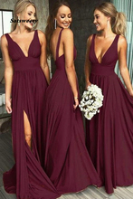 Burgundy African Bridesmaid Dresses Robe De Soiree A Line V Neck Ruffles Slit Long Cheap Prom Gowns