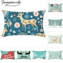 Fuwatacchi Christmas Cushion Covers Deer Printed Pillowcase Decoratives Throw Pillow Home Sofa Decor Accessories 30x50cm