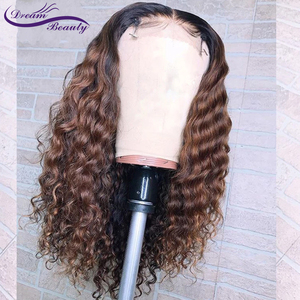 Image 3 - 1B/30 Ombre Color Lace Front Human Hair Wigs Baby Hair 13X6 Deep Part Curly Brazilian Non Remy Lace Wig Free Part Dream Beauty