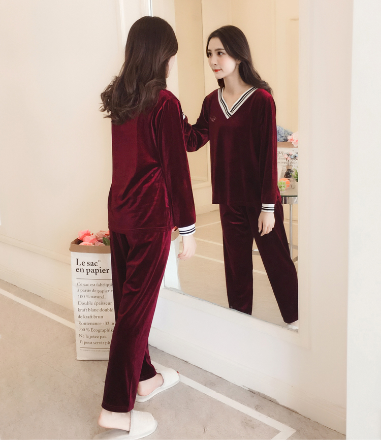 Girls Gold Velvet Pajamas Sets Women Autumn Winter Long Sleeve V-Neck Velour Pyjama Suit Warm Sleepwear Homewear Home Clothes 64