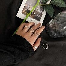 2020 Kpop Vintage Metalic Multi-layer Tie 4 unids/set anillos de moda para dedo Cool anillos de plata para las mujeres Egirl Bff citas joyería