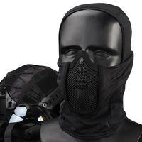 Máscara de malha facial completa caça airsoft paintball capacete ciclismo