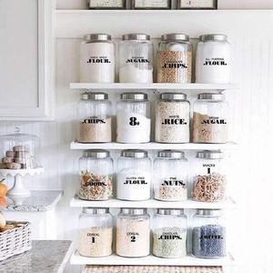 132pcs Kitchen Jars Bottle Container Label Various Shapes Food Label Clear Stickers Can Storgae Box Item Mark 6/8 Sheets