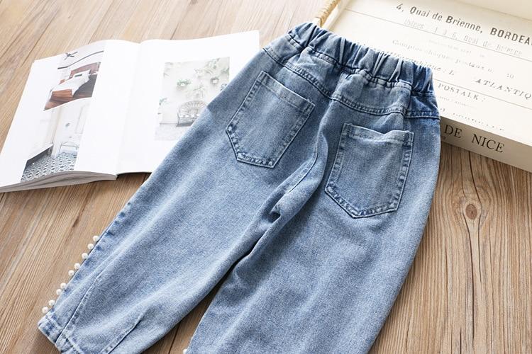 Весенние джинсы для девочек с бусинами