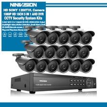 NINIVISION 16 ערוץ אבטחת 1200TVL 720P מעקב וידאו חיצוני מצלמה ערכת 16ch 5MP 1080P AHD טלוויזיה במעגל סגור DVR אבטחה מערכת