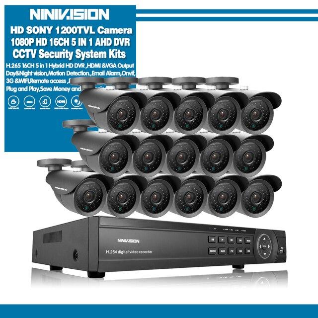 NINIVISION 16 Channel Security 1200TVL วิดีโอการเฝ้าระวังกลางแจ้งชุดกล้อง 16CH AHD กล้องวงจรปิด DVR บันทึกระบบกล้องวงจรปิด HDMI 1080P