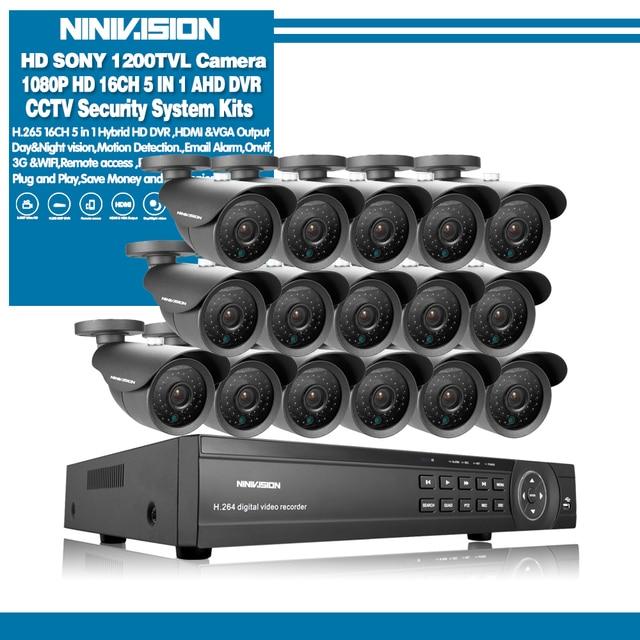 NINIVISION 16 kanal sicherheit 1200TVL 720P video überwachung im freien kamera kit 16ch 5MP 1080P AHD CCTV DVR Sicherheit system