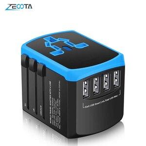 Image 1 - Evrensel güç seyahat adaptörü dünya çapında uluslararası güç adaptörü akıllı 2.4A 4 USB şarj aleti avrupa İngiltere abd dönüştürücü fiş