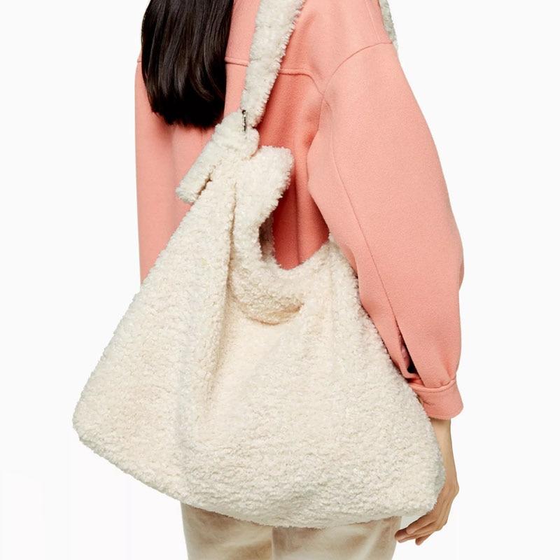 Fashion Lamb Woollen Large Capacity Totes Designer Plush Women Handbags Luxury Faxu Fur Lady Shoulder Bags Big Soft Winter Purse