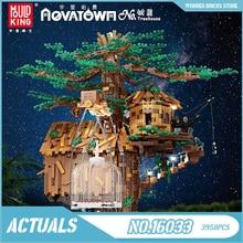 Форма KING 16033, креативные игрушки, домик MOC с деревом со светодиодными деталями, модель в сборе, строительные блоки, кирпичи, подарки для детей ...